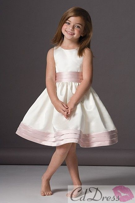 Flower Girl Dresses Could trim with whatever colour the adult bridesmaids are wearing.