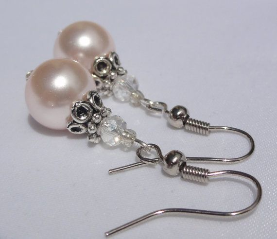 5 Pairs of Pink Pearl Bridesmaid Earrings by Stunning Gems Jewelry Pink Wedding jewelry Wedding Jewelry Bridesmaid Jewelry Flower Girl Jewelry Bridesmaid Jewelry Gift Flower Girl Jewelry Gift