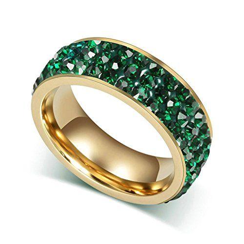 Aooaz Schmuck Damen Ring,3 Kreise Kristall Vergoldet Edelstahl Ehering Verlobungsringe für Damen Grün