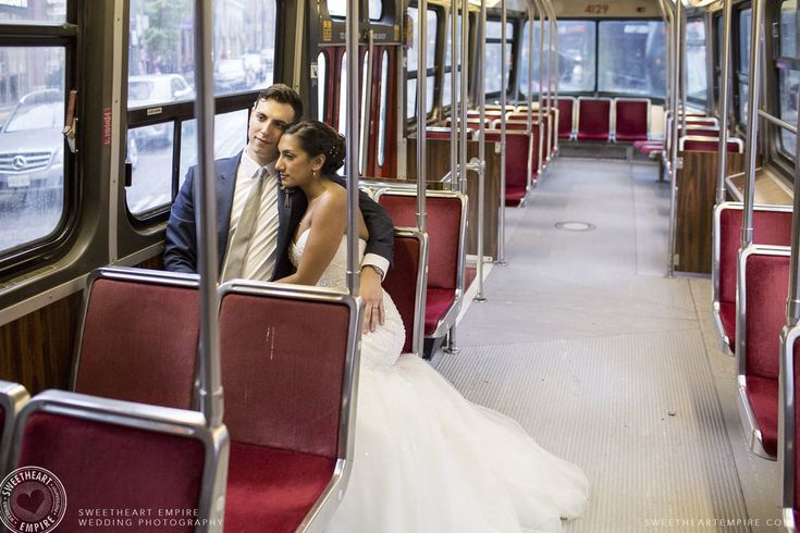 The bride and groom's private TTC streetcar ride on their wedding day! Read their Luma Wedding Photographer Review.#ridetherocket #sweetheartempirephotography