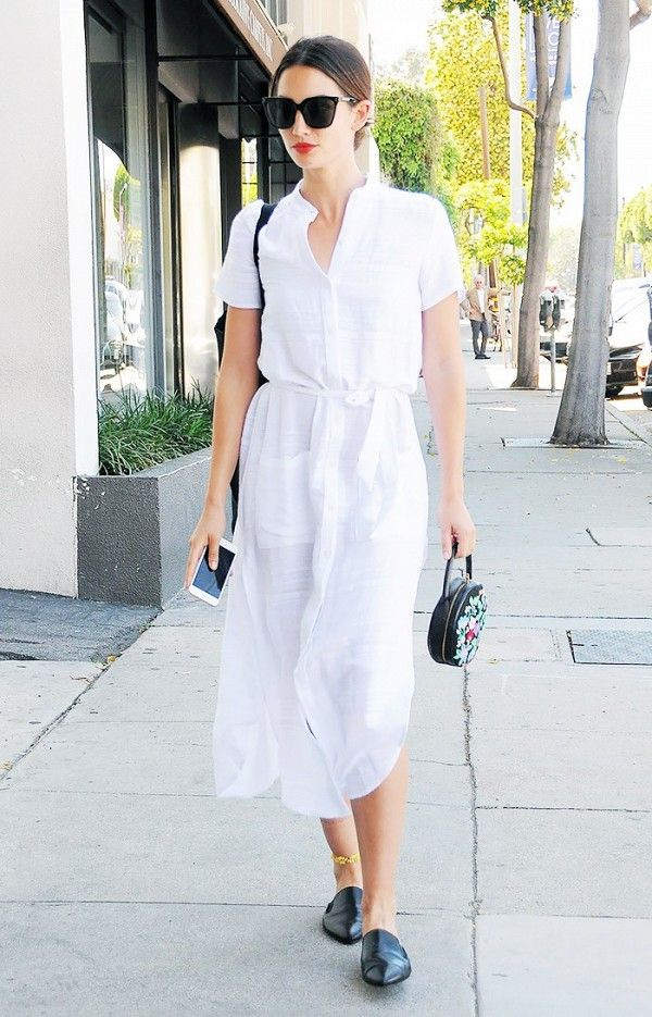 White shirt dress + black pointed toe mules