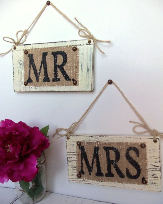MR & MRS WEDDING Ivory Hanging Signs Chair by SophiasSignBoutique, $30.00