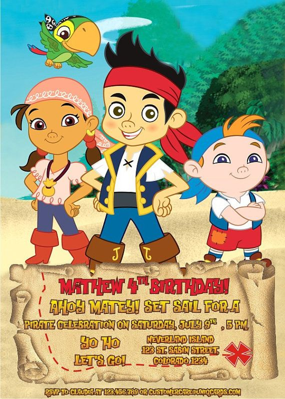 12 best jake and the neverland pirates birthday images on pinterest jake and the neverland pirates invitation free thank by uniqcards filmwisefo
