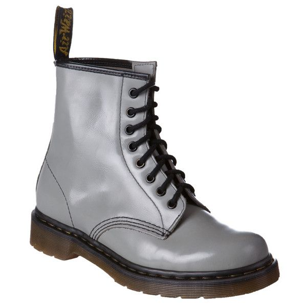 Dr Martens 1460 Milled Smooth Boots ($145) ❤ liked on Polyvore featuring shoes, boots, ankle booties, dr. martens, grey, sale further 25 off, women's shoes, lace up boots, gray ankle boots and laced up boots