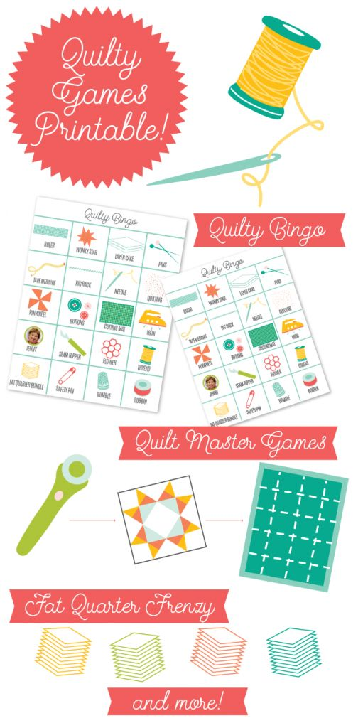 Download this free Quilty Games Printable and throw your own fun quilt party!