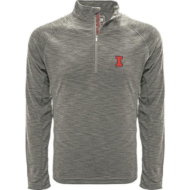 Levelwear Men's Illinois Fighting Illini Grey Mobility Long Sleeve Quarter-Zip Shirt