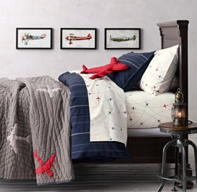 Vintage Baseball Stripe & Airplane Route Bedding Collection
