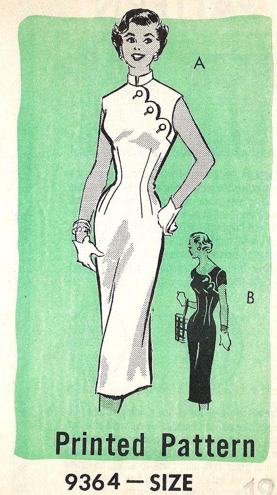 1950s Cocktail Dress Sheath Dress Wiggle Dress