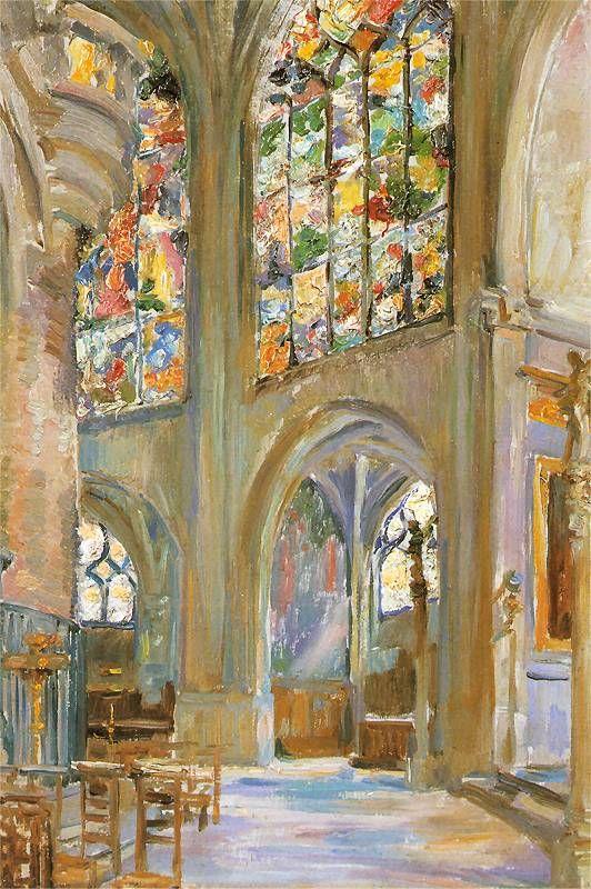 poboh:  Paryż, wnętrze gotyckiego kościoła St. Étienne, Stanisław Wyspiański. Polish (1869 - 1907)