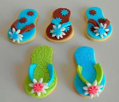 #Taartfabriek: flip flop cookies with fondant. Slipper koekjes met fondant.