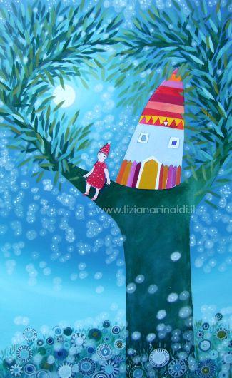 Il sogno di Chiara by Tiziana Rinaldi #art #painting #fairy #tree #house #treehouse #night #dreaming #dream