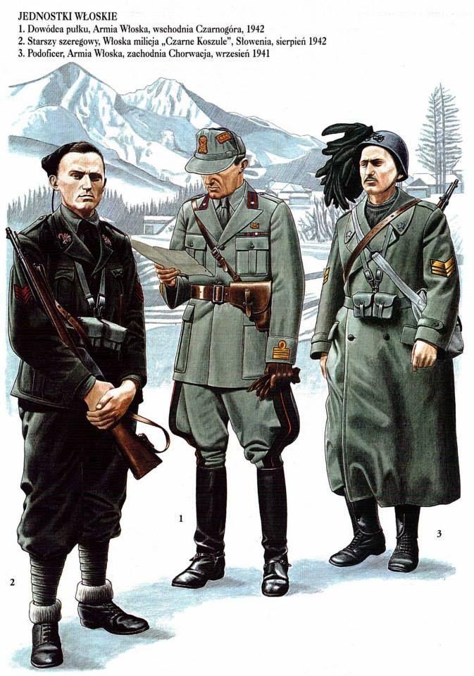 Forze di occupazione italiane in Slovenia 1942 - 1 Regio Esercito, Colonnello Comandante - 2 MSVN, Caporalmaggiore - 3 Regio Esercito, Caporalmaggiore dei Bersaglieri