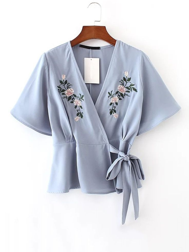 Buy Flower Embroidered Wrap Top from abaday.com, FREE shipping Worldwide - Fashion Clothing, Latest Street Fashion At Abaday.com