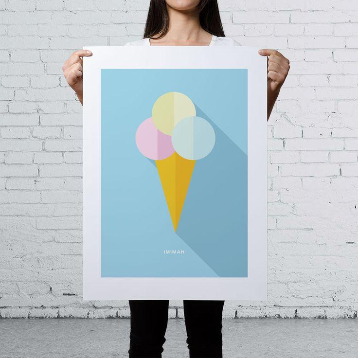 IMIMAH Broadwalk Daydream Print 18×24″. $48 + P&P.   Our delightful pastel ice cream print is available at: IMIMAH.co/prints  #icecream #popart #interiordesign #homewear #decor #prints #print #poster #wallart #cherry #cute #bright #colourful
