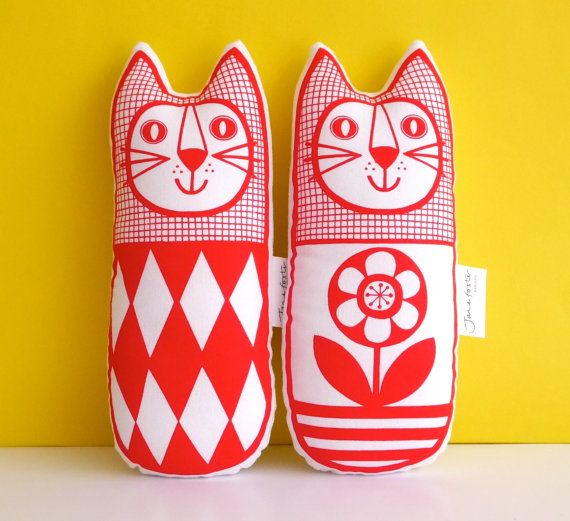 Original Scandinavian style diamond flower fabric handmade cat toy plush softie by Jane Foster