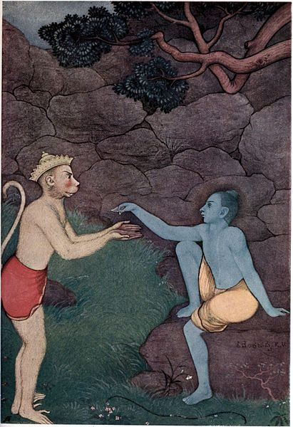 Rama hands his signet ring to Hanuman to bring to Sita. illustration by K. Venkatappa from Myths of the Hindus & Buddhists (1914)