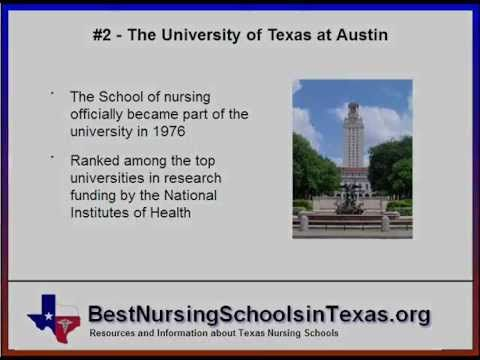 Published on Apr 3, 2013 http://www.BestNursingSchoolsinTexas.org -- The best nursing schools in Texas are also some of the best in the entire country. The state has a long tradition of quality nursing programs and is home to 12 of the top 100 nursing schools in the nation according to US News & World Reports.