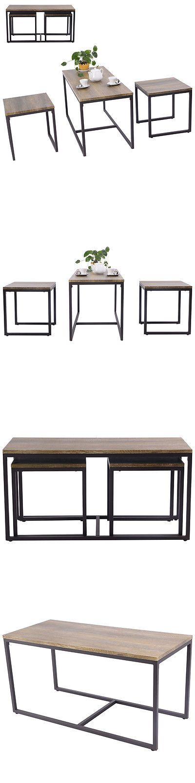 furniture: 3 Piece Nesting Coffee And End Table Set Wood Modern Living Room Furniture Decor BUY IT NOW ONLY: $59.99