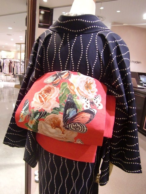 Modern take of an obi, sold at Mamechiyo, Japan.