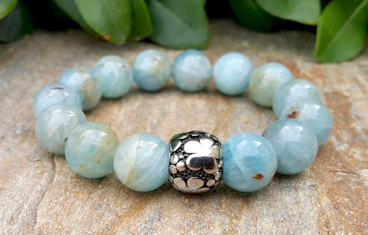 12 mm Aquamarine Natural Stone Stretch Bracelet, Five Leaf Clover Charm, Good Luck, Abundance, Intention, Healing Jewelry