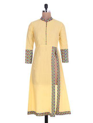 Buy Yufta Yellow Cotton Printed kurta Online, , LimeRoad