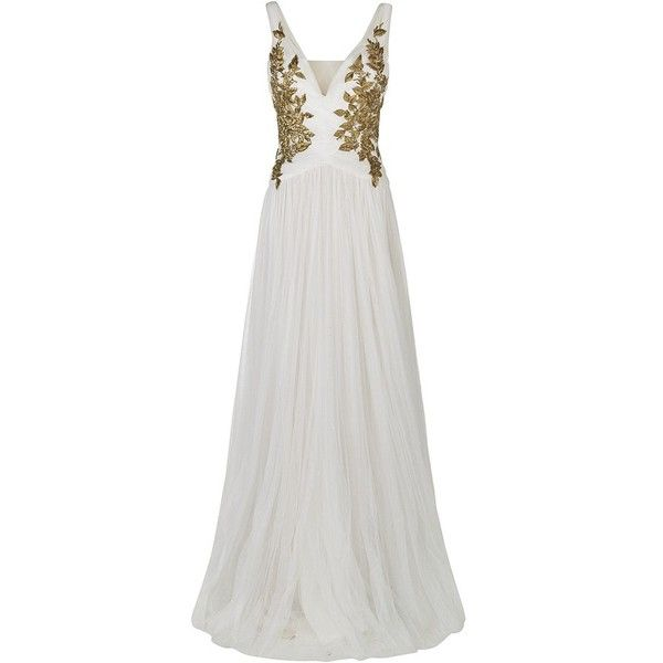 Marchesa Embroidered Gown (€11.720) ❤ liked on Polyvore featuring dresses, gowns, long dresses, vestidos, evening dresses, white evening gowns, white gown, white embroidered dress and long special occasion dresses