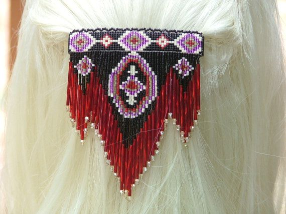 Lg. Black, White, Purple, and Red Ashley with Dangles.  Handbeaded seed bead barrettes. on Etsy, $63.96 CAD