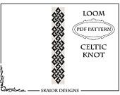 Loom Beading Pattern Celtic Knot Bracelet Seed Bead Pattern Tribal Loom Bead Pattern Knots Bead Weaving Square Stitch Loomwork Black White