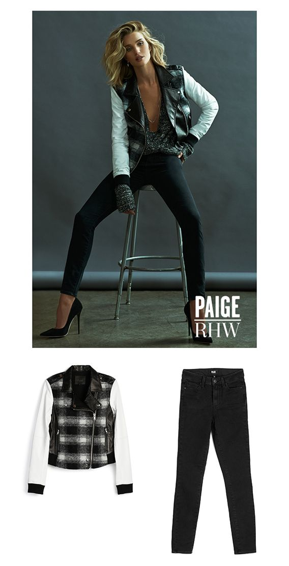 Rosie Huntington Whiteley for PAIGE Fall 15 | Rosie wears the Shelley Bomber and Hoxton Ultra Skinny in Joannie for the perfect blend of edgy and modern. The Shelley Bomber is a plaid bomber jacket made from a wool blend and 100% lamb leather. The Hoxton in Joannie is a high-rise ultra skinny and a fall staple. Dress this look down with cool sneaks and take it up a notch with sky high heels for night.