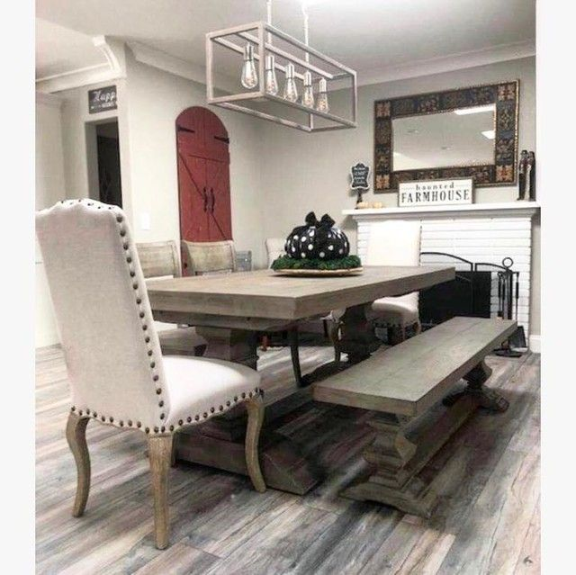 Banks Extending Dining Table Gray Wash Upholstered Dining Chairs Dining Bench Extendable Dining Table