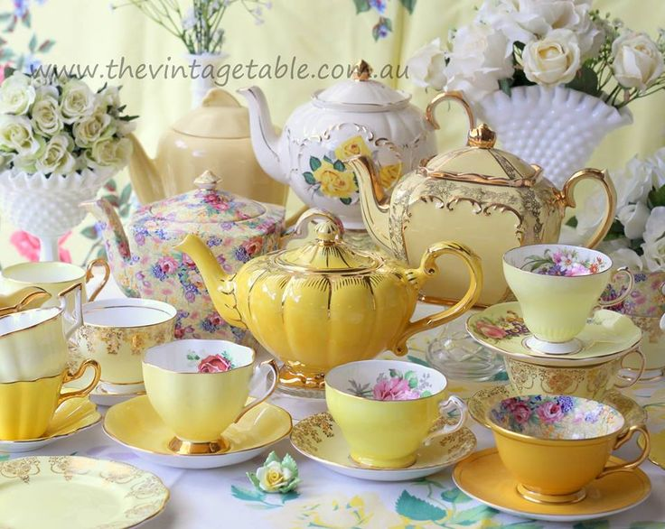 The Vintage Table | China Hire | Gallery Sunny vintage yellow bone china & milk glass vases