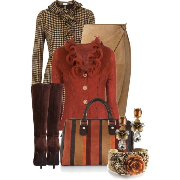 Rusty by stylesbyjoey on Polyvore featuring James Lakeland, RED Valentino, Lauren Ralph Lauren, CO-OP Barneys New York, BCBGMAXAZRIA, Sweet Romance, Tory Burch, suede skirts, houndstooth and ruffle coats