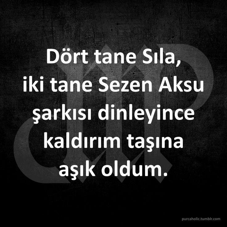 Dört tane Sıla, iki tane Sezen Aksu şarkısı dinleyince kaldırım taşına aşık oldum. :)