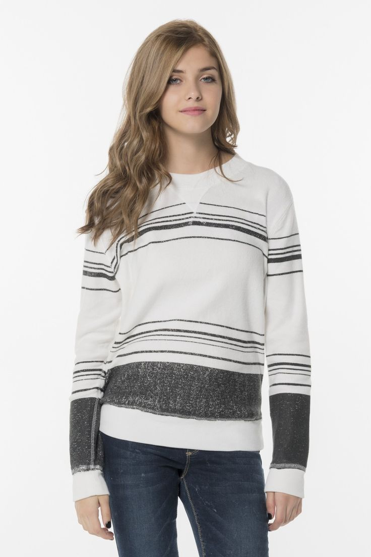 gray and white striped long sleeved