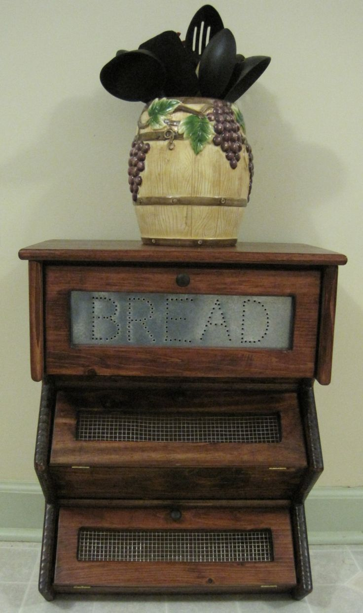 Tin bread box drawer insert - Primitive Bread Box Vegetable Bin Storage By Dlightfuldesigns 69 00