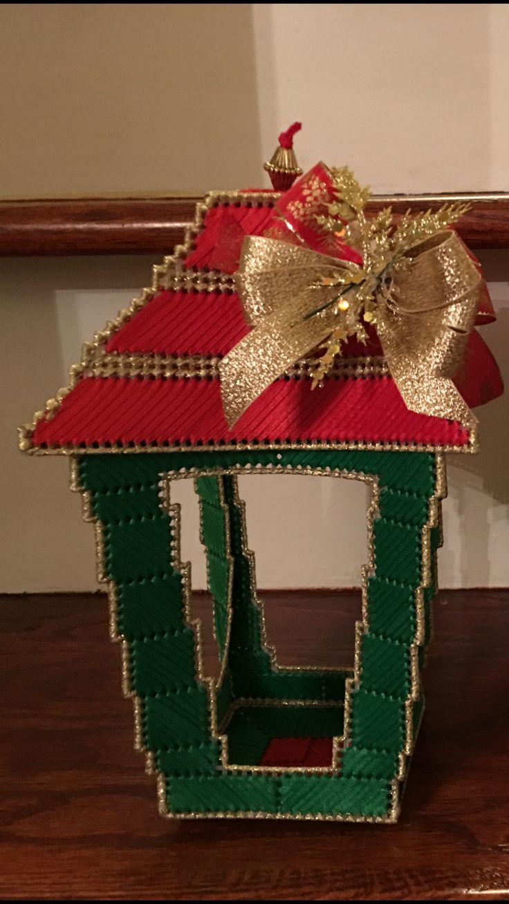 Plástic canvas Christmas lamp post