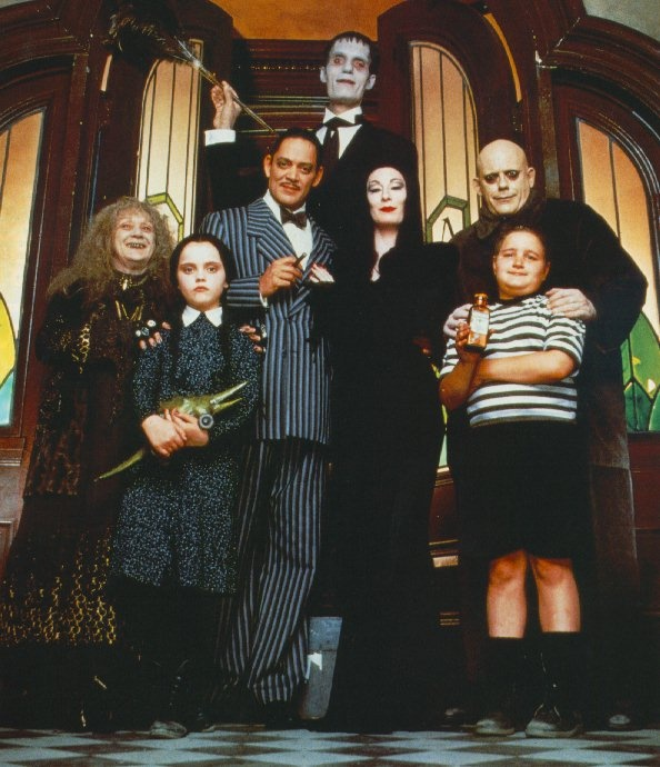 The Addams Family (1991 - Barry Sonnenfeld director) - Carel Struycken (Lurch), Raul Julia (Gomez Addams), Anjelica Huston (Morticia Addams), Christopher Lloyd (Uncle Fester Addams), Judith Malina (Granny), Christina Ricci (Wednesday Addams), Jimmy Workman (Pugsley Addams)