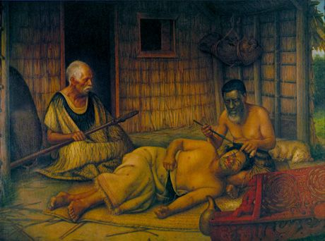 Gottfried Lindauer painting of a Maori man being tattooed, late nineteenth century. Before beginning his work, the tohunga-ta-moko (the tattooer) would study the face and decide which features to accentuate. The design was first traced in charcoal before permanent marks were made using a chisel of sharp obsidian or bone.