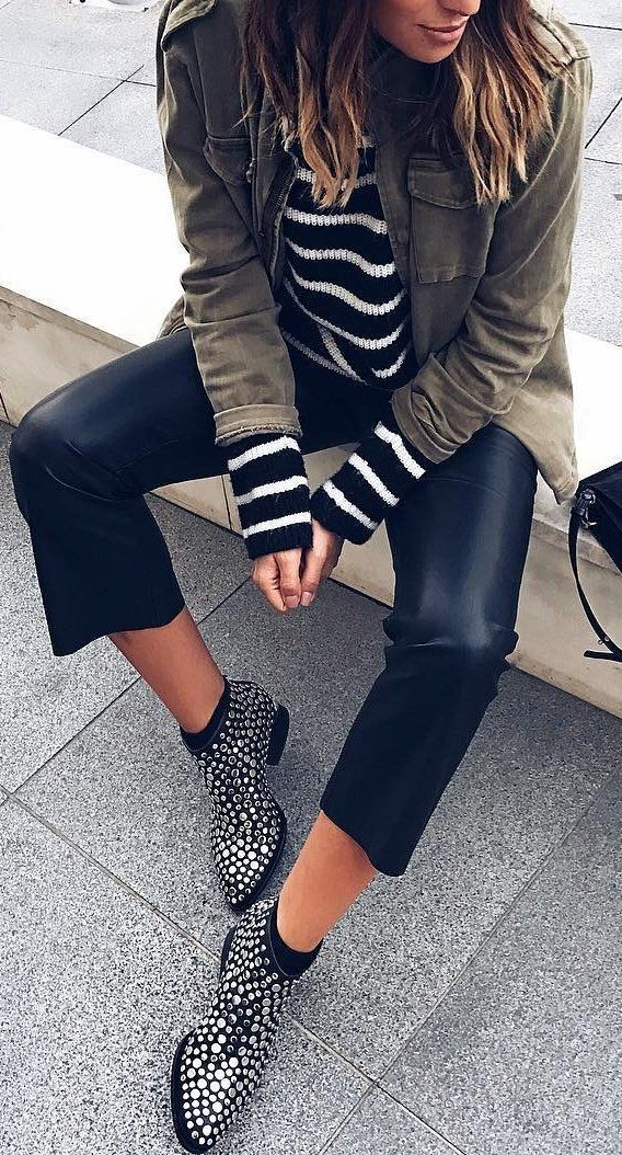 #fall #outfits Army Jacket // Striped Sweater // Cropped Leather Pants // Studded Ankle Boots