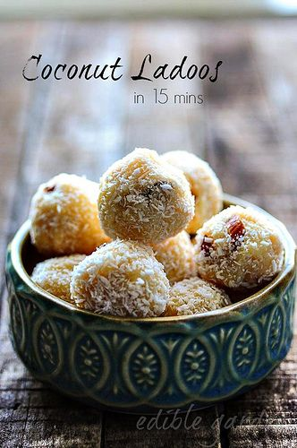 15-Min Coconut Ladoo Recipe - I've never heard of ladoo but coconut and almond is inevitably a match made in heaven