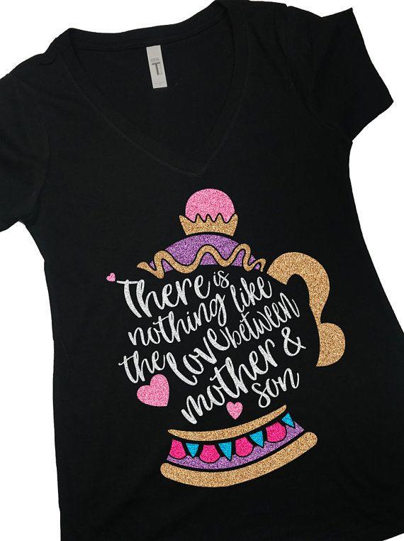 Mrs Potts Shirt Mother Son Shirt Belle Beauty Beast Glitter