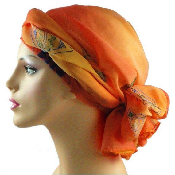 Tangerine Chiffon Turban Head Wrap Alopecia Head by TurbanDiva, $44.95
