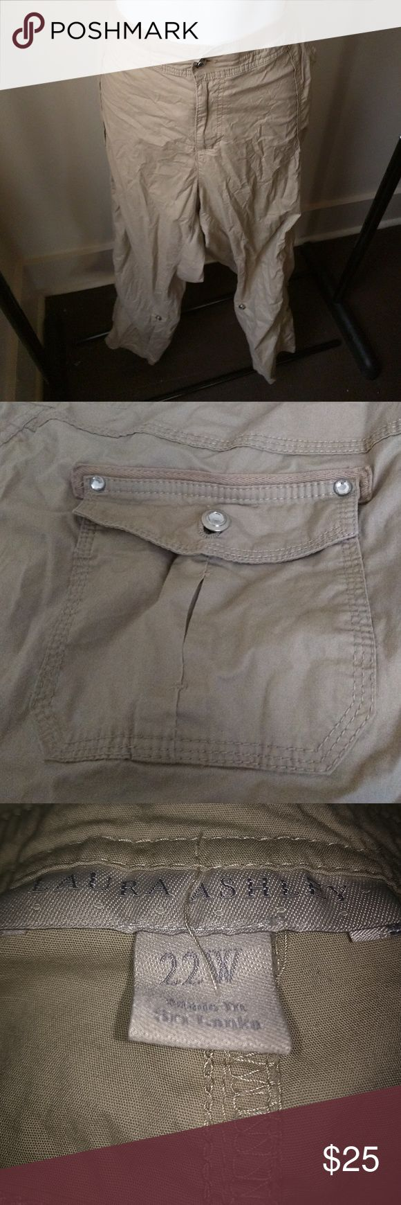 Plus size khaki cargo pants. Crystal buttons Worn once on safari. Excellent condition. Accepting reasonable offers Laura Ashley Pants Straight Leg
