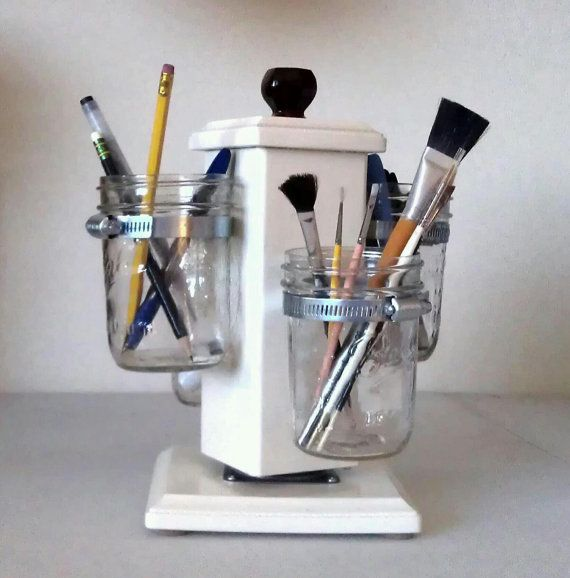 Mason jar desk caddy...would LOVE to make this