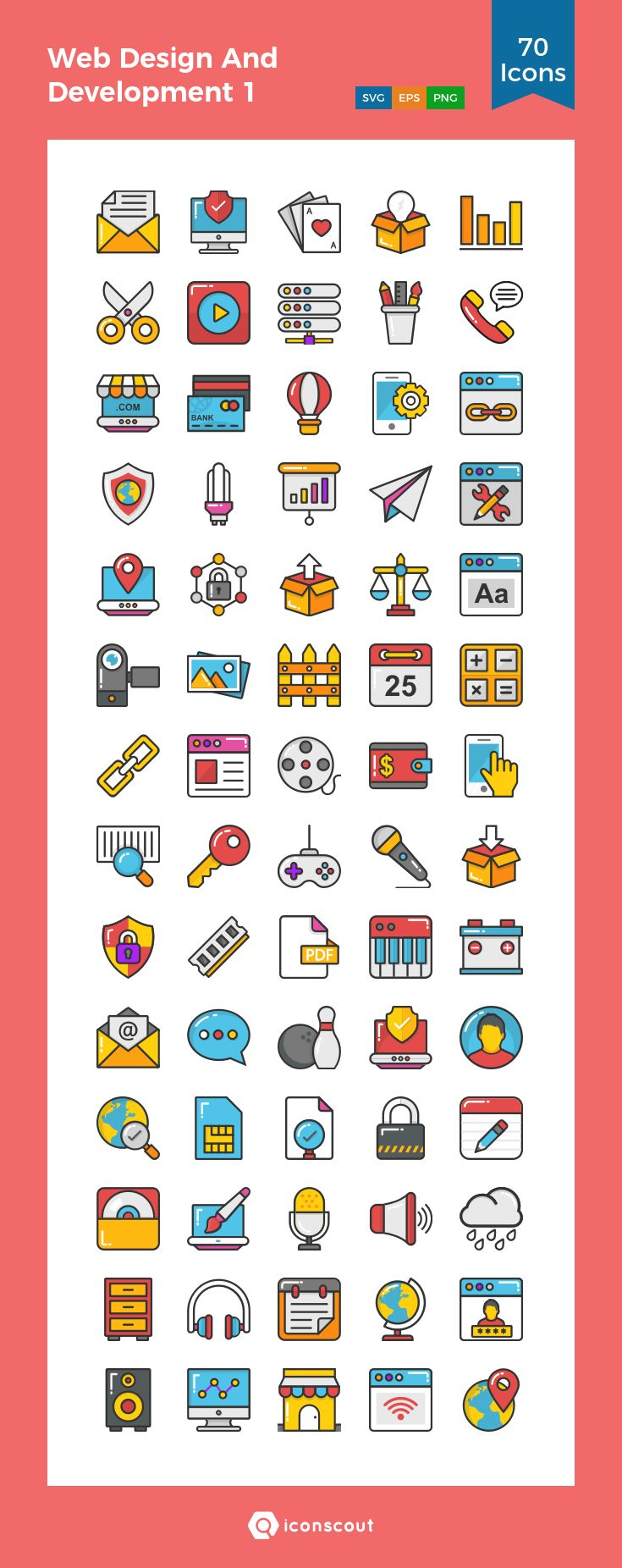 Web Design And Development 1  Icon Pack - 70 Filled Outline Icons