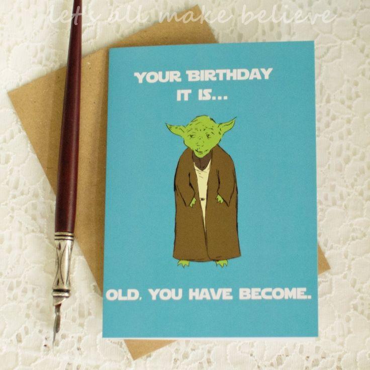 Star Wars Yoda Inspired Birthday Card