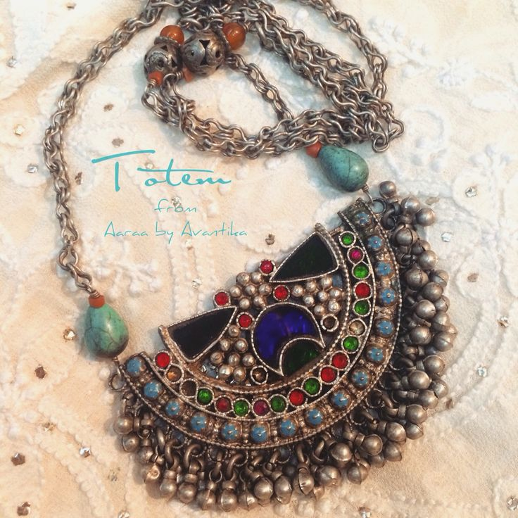 Totem, the tribal chic easy neckwear from Aaraa by Avantika, antique afghani with beautiful melange of colours and materials. One of a kind!