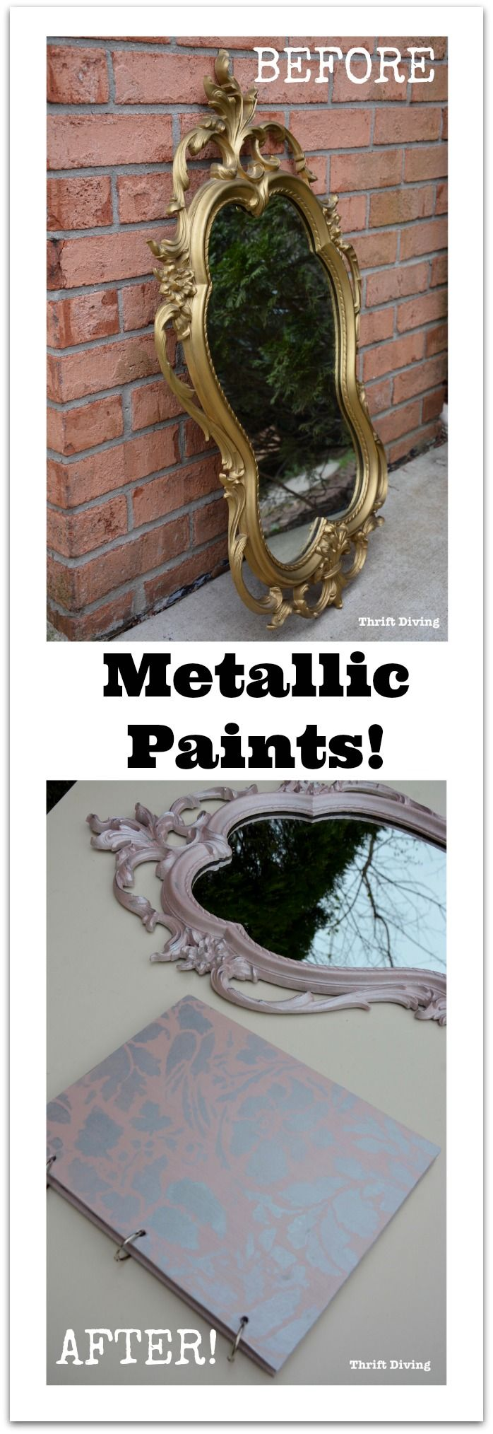 If you've never tried metallic paints, you don't know what you're missing. See how I transformed this $15 thrifted mirror from outdated gold to a pretty Rose Gold metallic paint color. The DIY wooden journal was stenciled with Rose Gold and Metallic Silver! - Thrift Diving