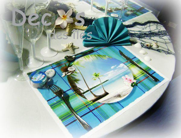 Pour un mariage antillais avec une d co set madras bleu for Decoration de table bleu turquoise