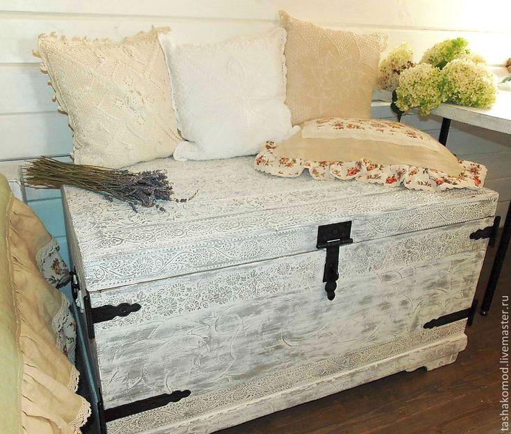 """Купить Сундук """"Ароматы Прованса"""" (реставрация) - серый, комод, реставрация мебели, оформление мебели"""